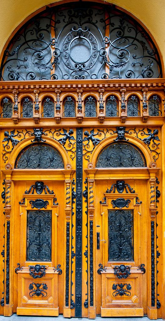 Beautiful ornate Eastern European double doors in Budapest Hungary. & East European Doors | Budapest hungary Budapest and Doors