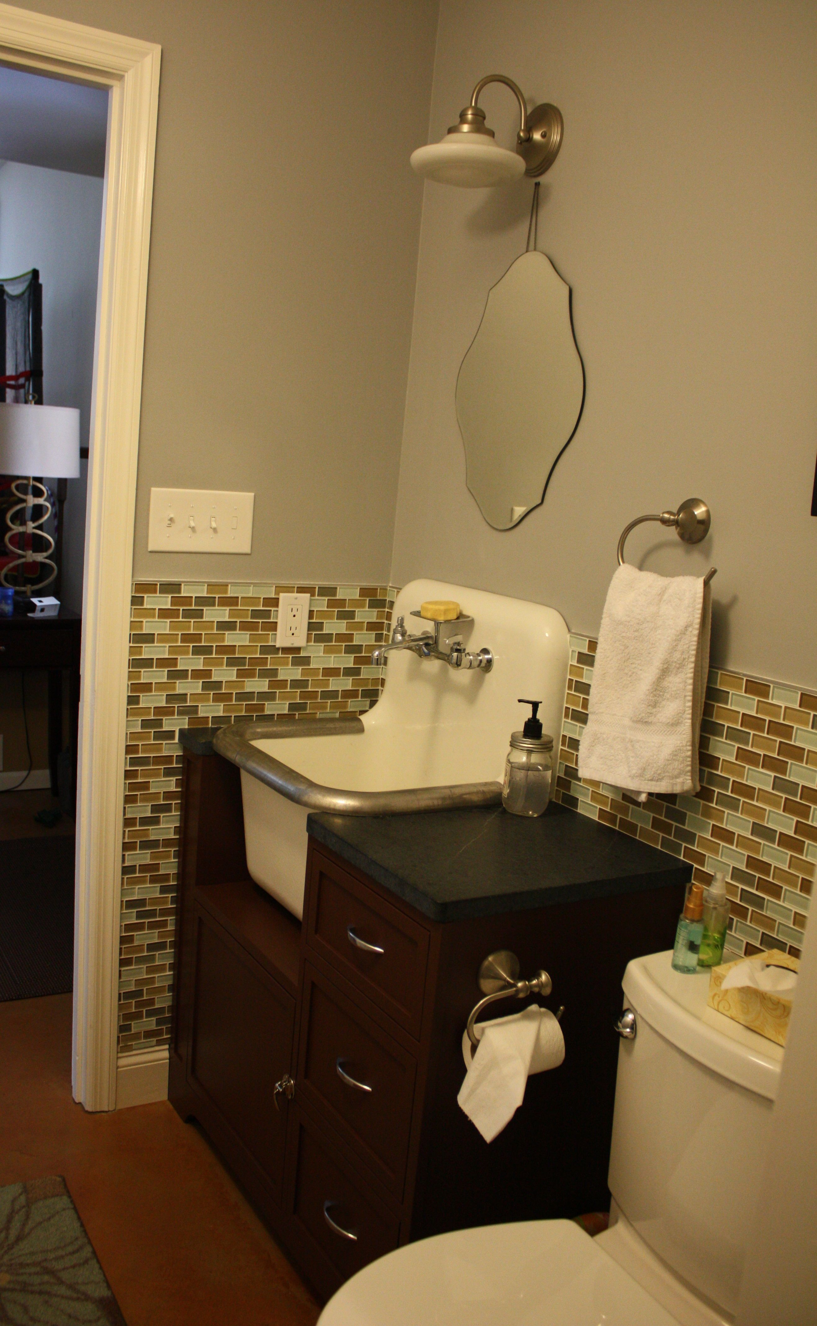 half bath laundry closet remodel mixing old and new stained rh pinterest com