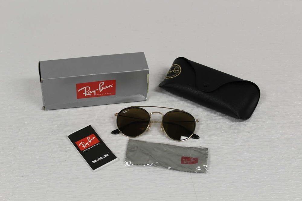 eBay  Sponsored Ray Ban Men s Sunglasses Polarized Round Double Bridge  RB3647N 001 57 Gold Brown f65cebdd92c6