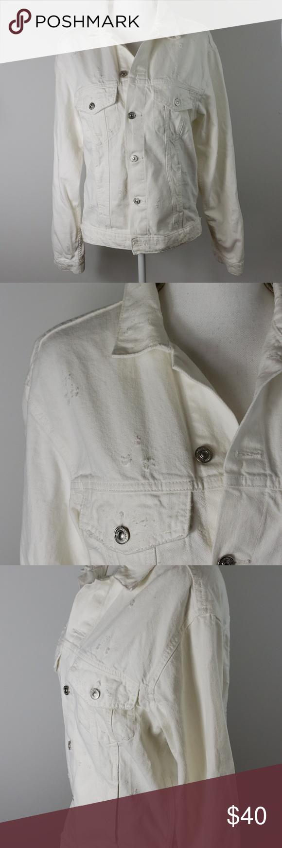Zara Distressed White Denim Jacket White Denim Jacket White Denim Clothes Design [ 1740 x 580 Pixel ]