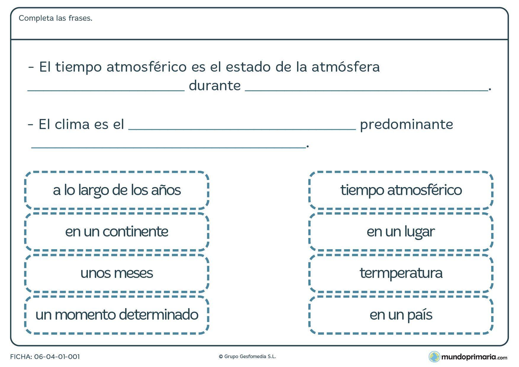 Ficha de clima para cuarto de primaria. Tiempo atmósférico y clima ...