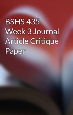 Bshs 435 Week 3 Journal Article Critique Paper Wattpad Short