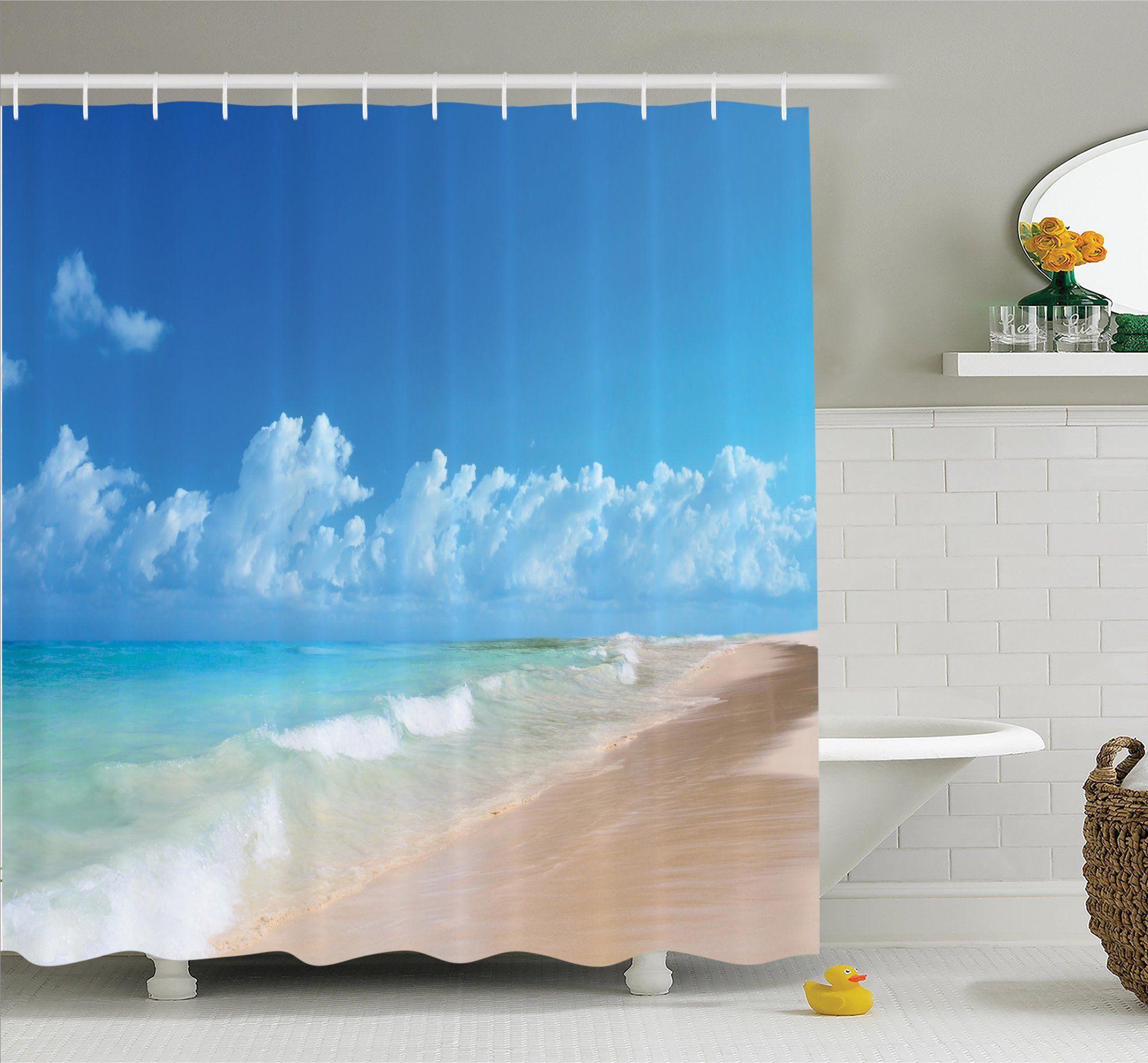 "Orange Sunny Beach Sea Waves Bathroom Fabric Shower Curtain Set /& 12 Hooks 71/"""