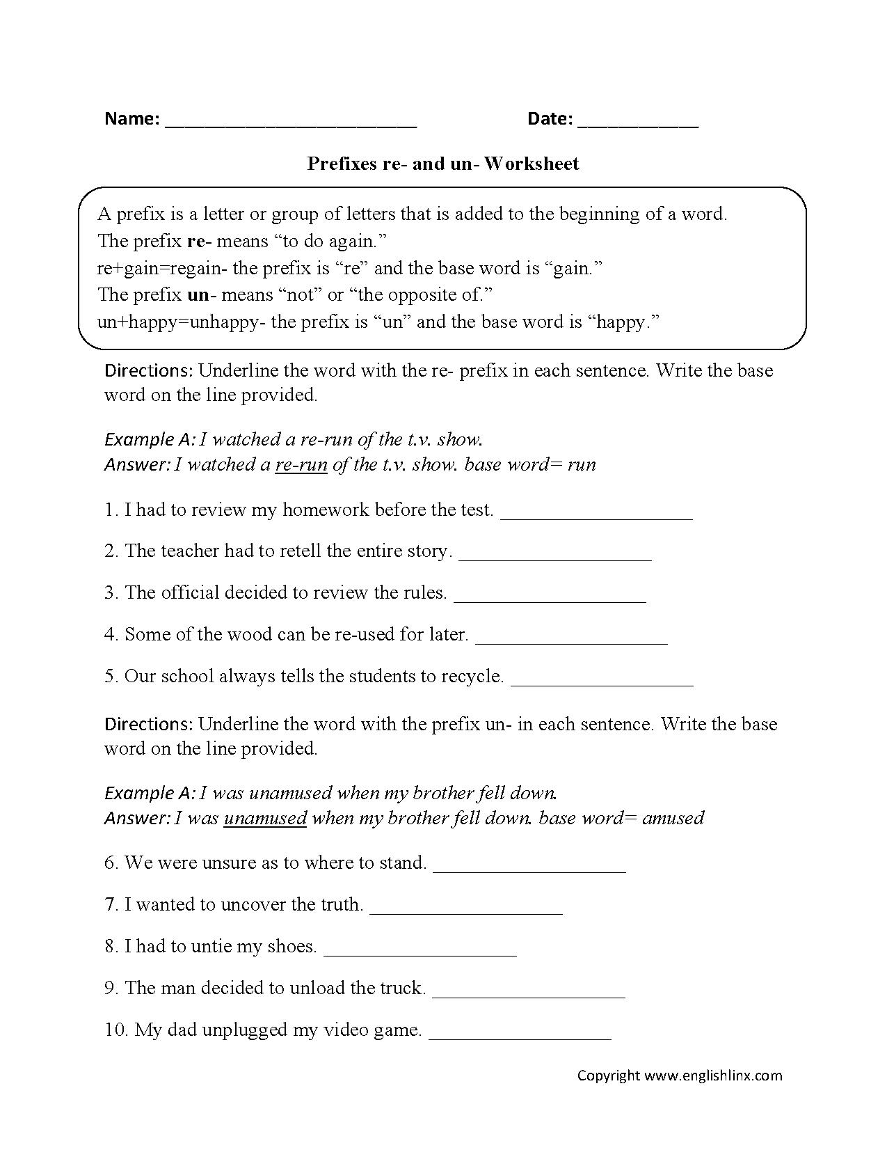 Un Words Worksheet : Prefixes re and un worksheets pinterest