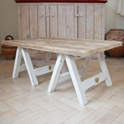 rustic trestle coffee table natural white lash bar pinterest rh pinterest com