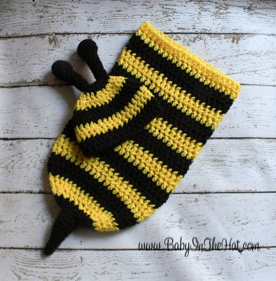 Newborn Bumble Bee Crochet Hat And Cocoon Photo Prop Set | Knit ...
