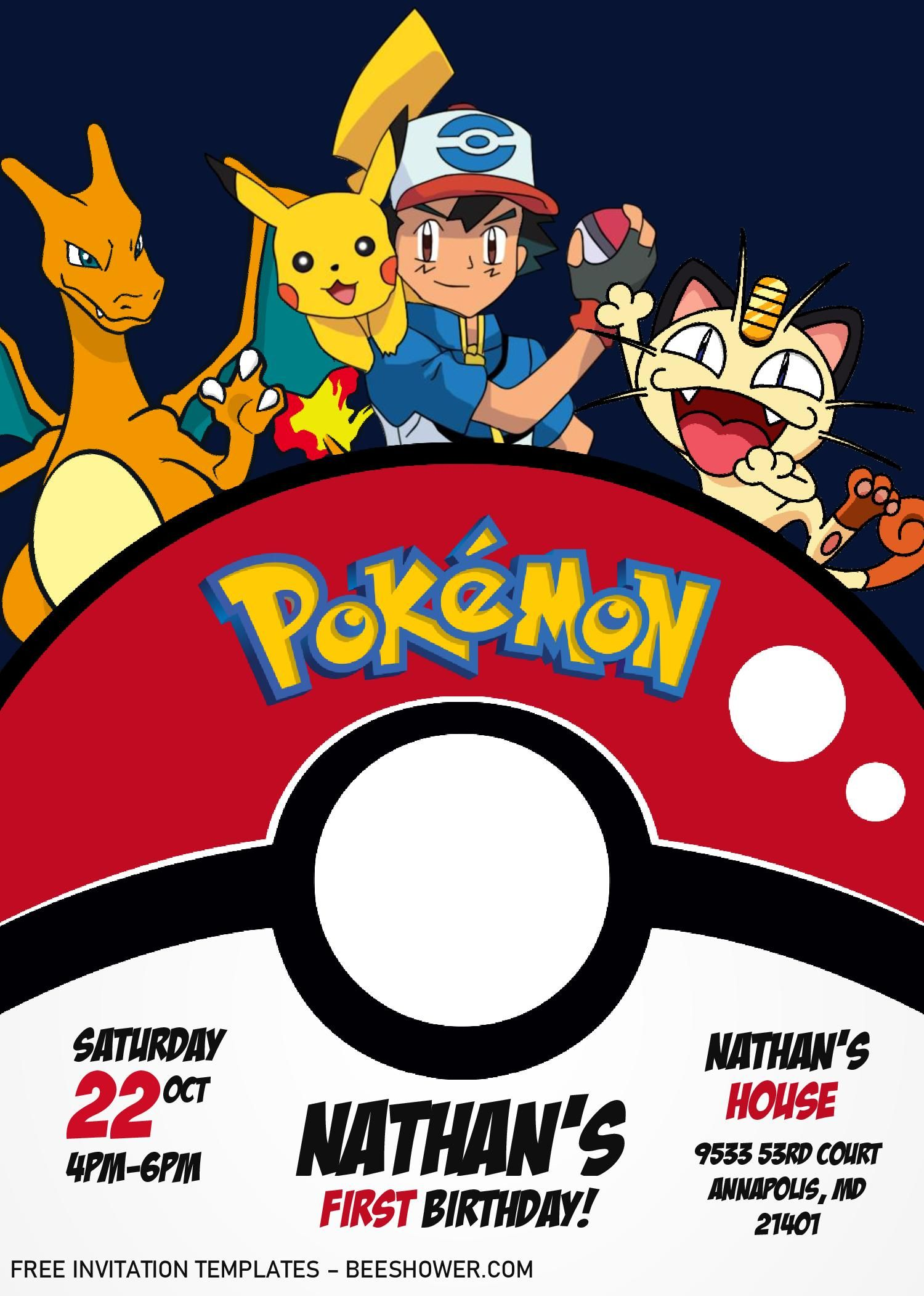Pokemon Invitation Templates Editable With Ms Word In 2021 Pokemon Invitations Pokemon Party Invitations Printable Baby Shower Invitations