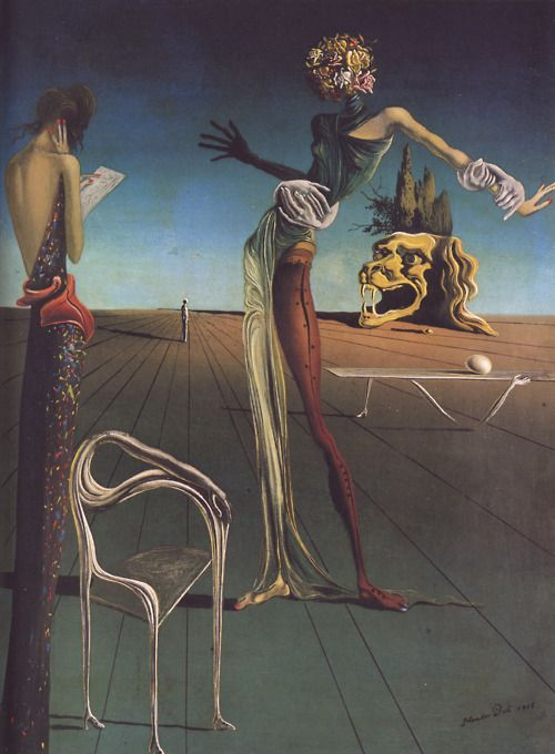 woman with a head of roses by salvator dali