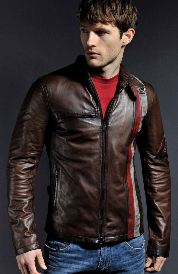 X-Men Wolverine Giacca in Pelle Marrone Stile Biker Vintage Real Pelle Di Pecora Racer