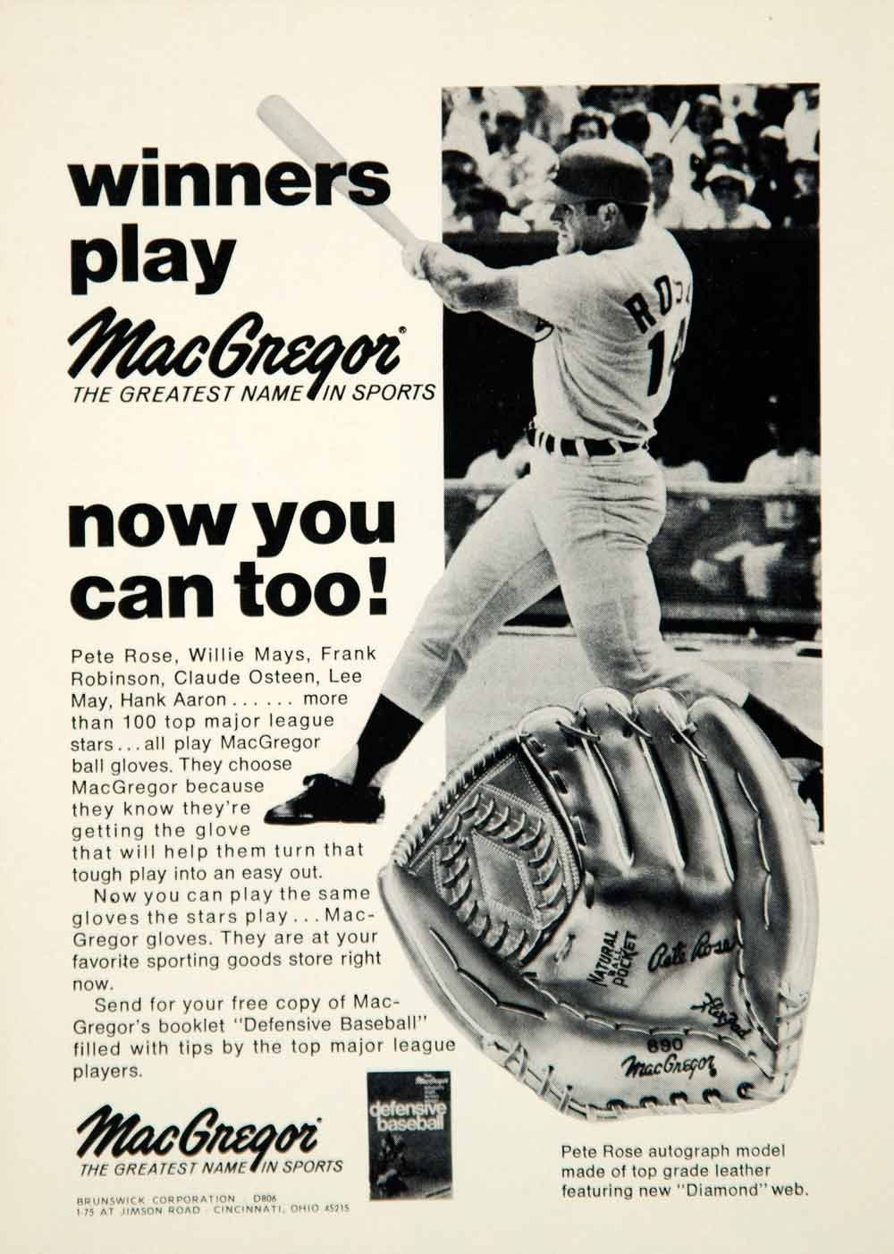 1972 Ad MacGregor Baseball Glove Pete Rose Brunswick 175