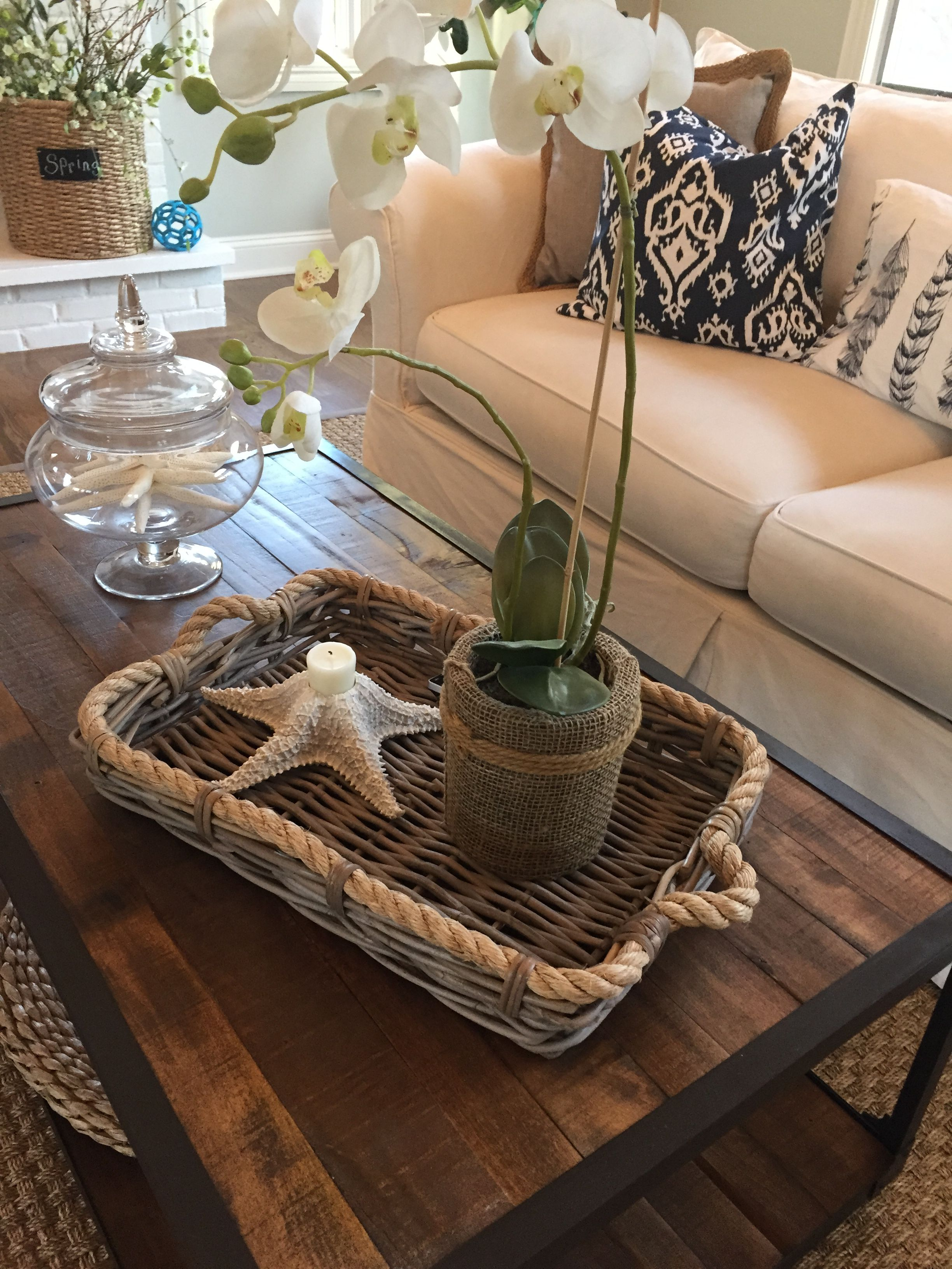 indigo and white family room with reclaimed wood coffee table rh pinterest ca
