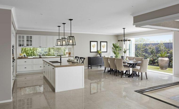 Open space moderno ed elegante arredato con mobili bianchi for Sala da pranzo e salotto insieme
