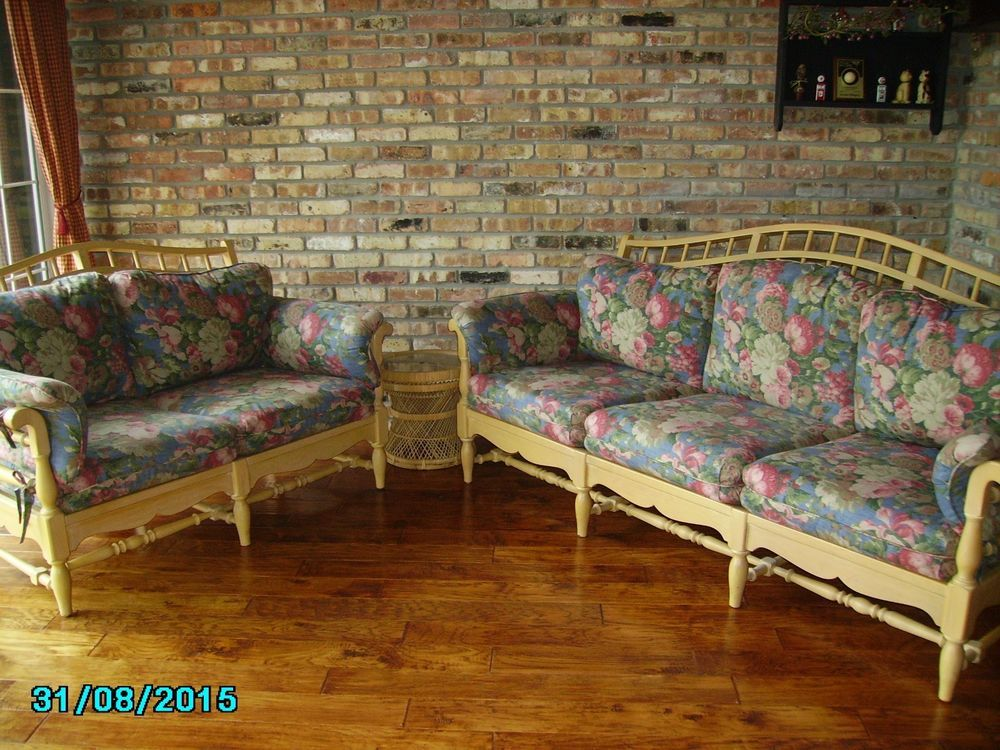 Ethan+Allen+couches+love+seat+floral+sofa+couch+