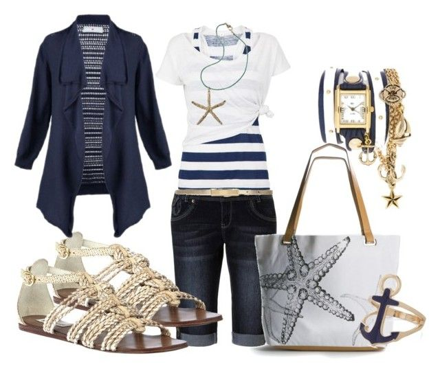 """""""Nautical Gladiator"""" by mamamer ❤ liked on Polyvore featuring Jane Norman, Steve Madden, White Label, Poppie Jones, Avenue, Maison Boinet, women's clothing, women, female and woman"""