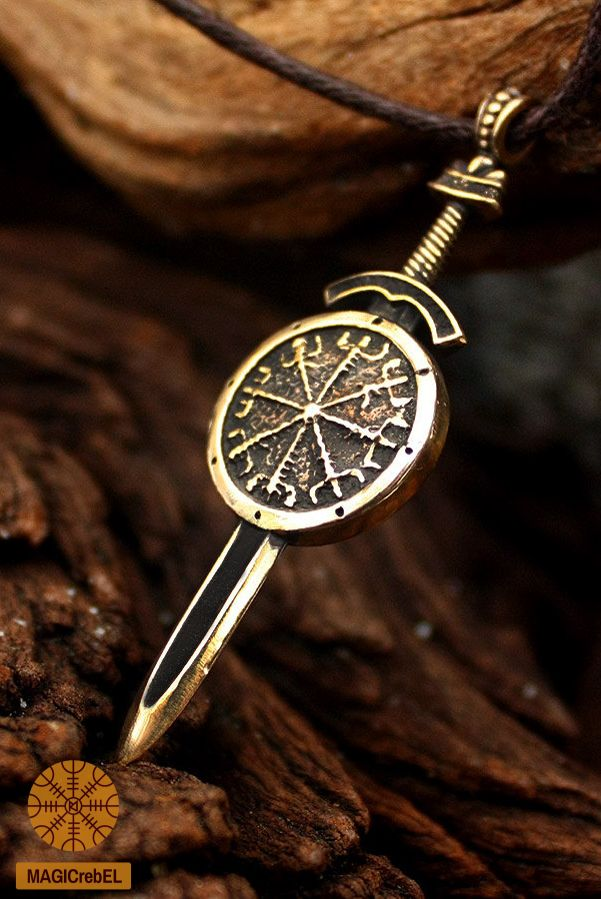 The pendant features the aegishjalmur or helm of awe symbol on the the pendant features the aegishjalmur or helm of awe symbol on the one side and the vegvisir or runic compass symbol on the other side aloadofball Images