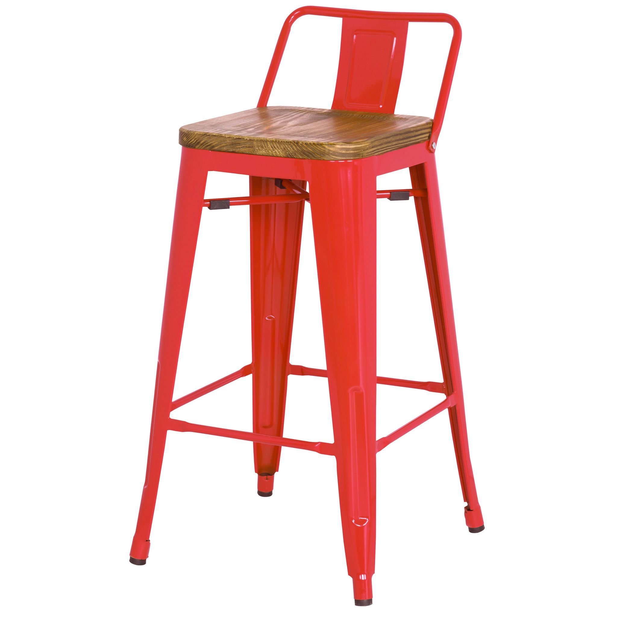 24 High Tolix Counter Height Stool With Back And Wood Seat