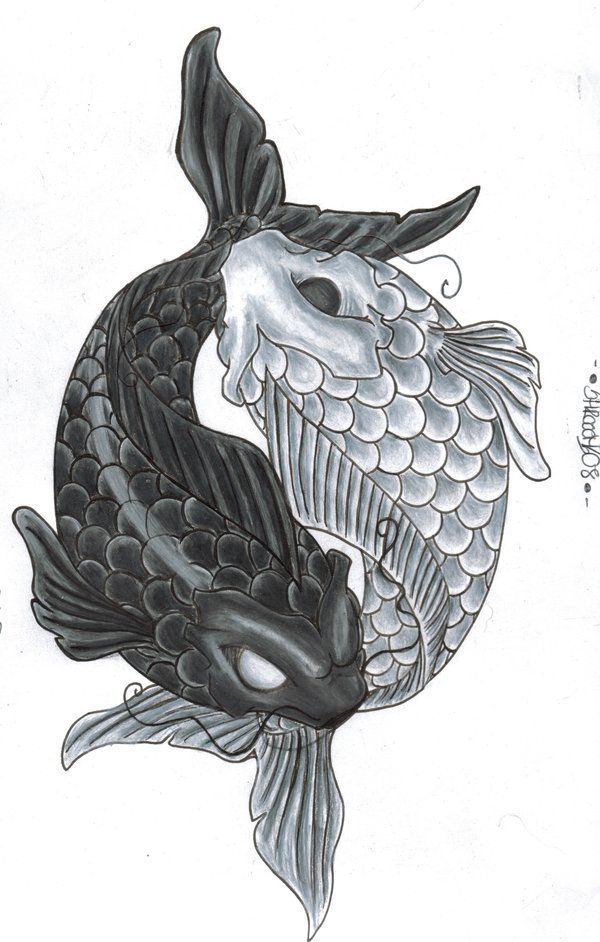 Delicate Koi Pisces Yin Yang Tattoo Watercolor Painting ...