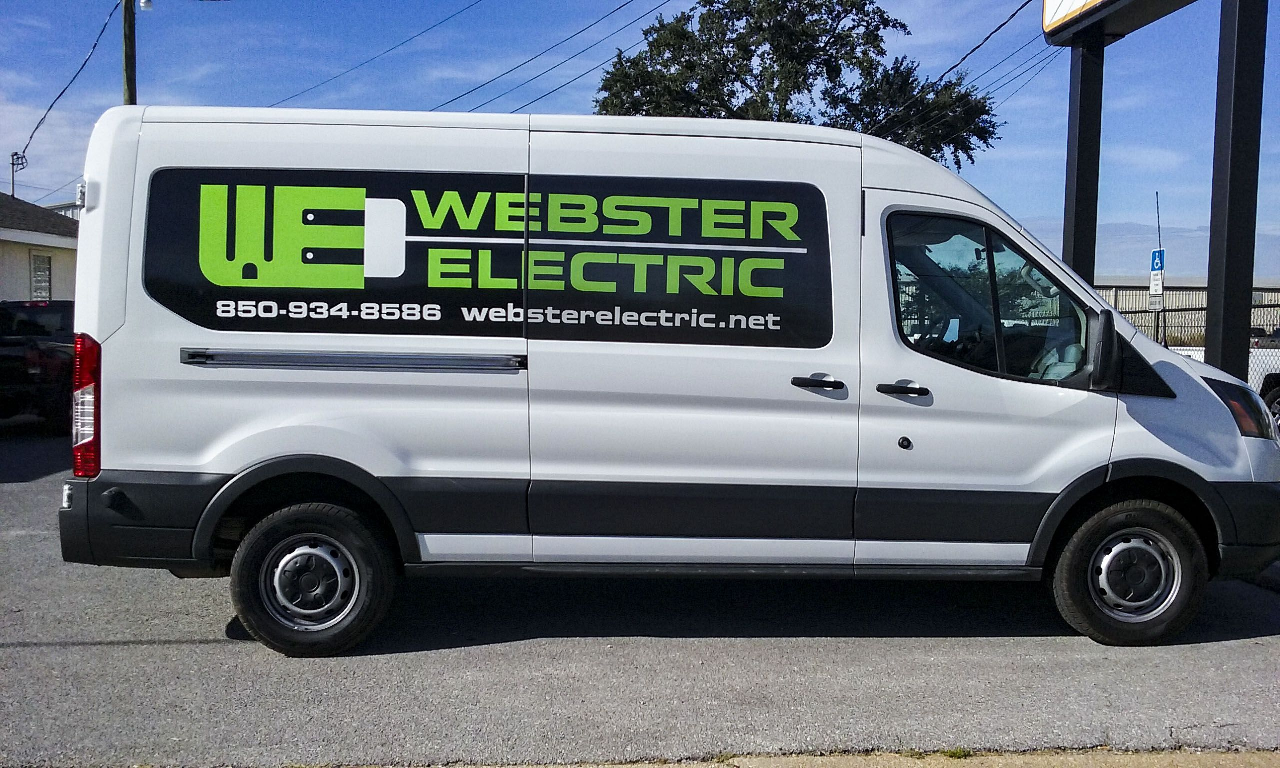 Simple and sleek window graphics for Webster Electric by Pensacola