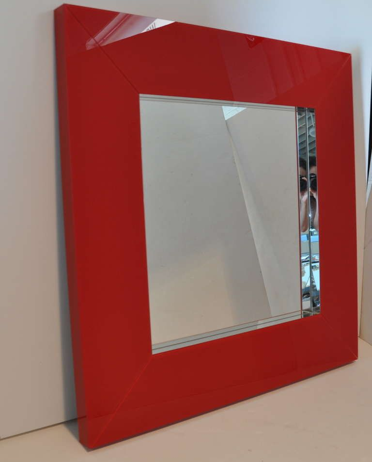 Red Wall Mirror exceptional red square mirror | modern wall mirrors, modern wall