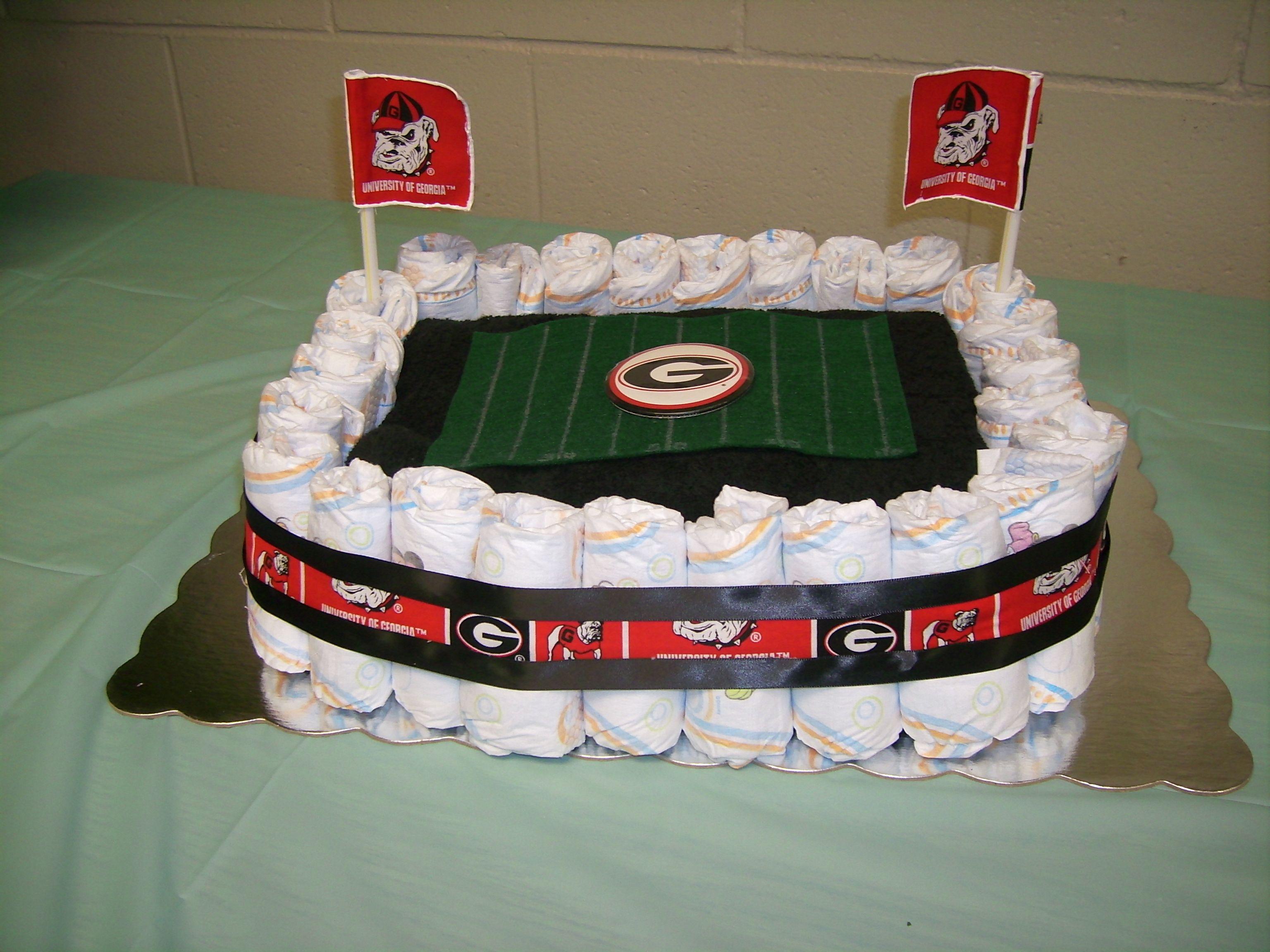 Uga Football Stadium Diaper Cake For Daddy Baby Shower