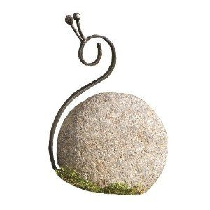 Amazon.com: Ancient Graffiti Medium Metal Snail Natural River Stone With  Wire: Patio