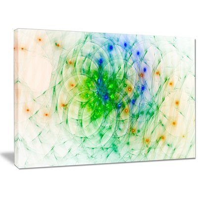"DesignArt 'Green Outline of Fractal Colors' Graphic Art Print on Canvas Size: 30"" H x 40"" W x 1"" D"
