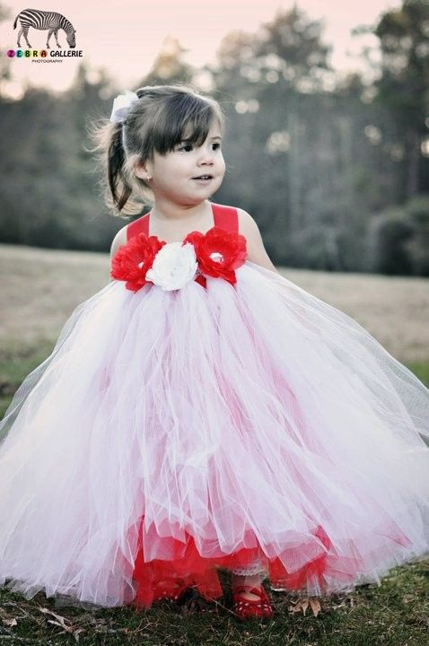 Girls Tutu Dresses Flower Girl Red And White
