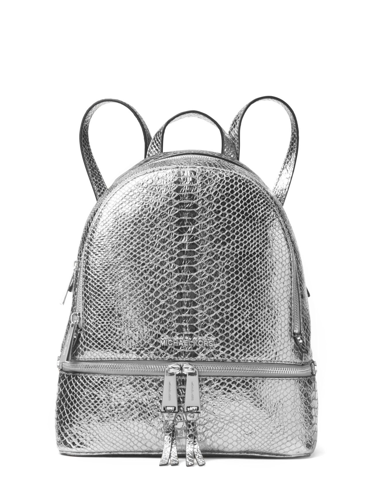 03dd42af9926 MICHAEL Michael Kors Rhea Zip Medium Backpack (Metallic Silver ...