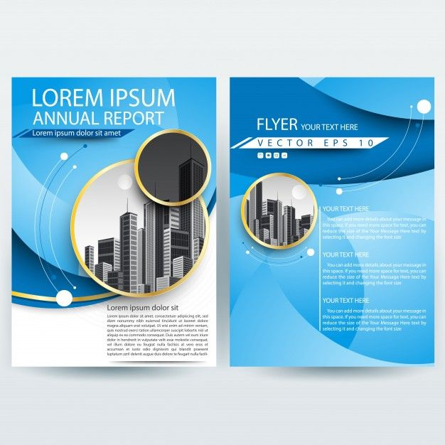 Business Brochure Template With Blue Curve Shapes Free Vector P