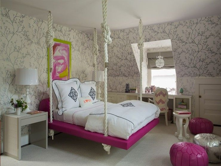 kids hanging bed contemporary girls room liz caan interiors - Metallic Kids Room Interior