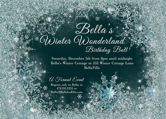 frozen winter wonderland party winter snowflake ball invitation