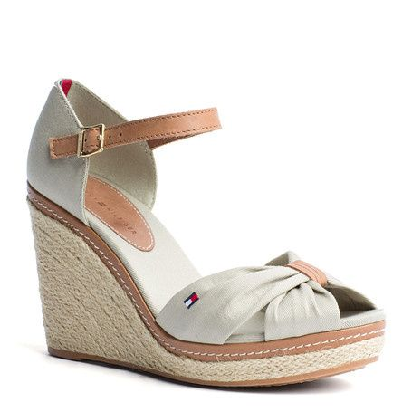 Trendy espadrille wedge sandals. Canvas upper, peep-toe ...