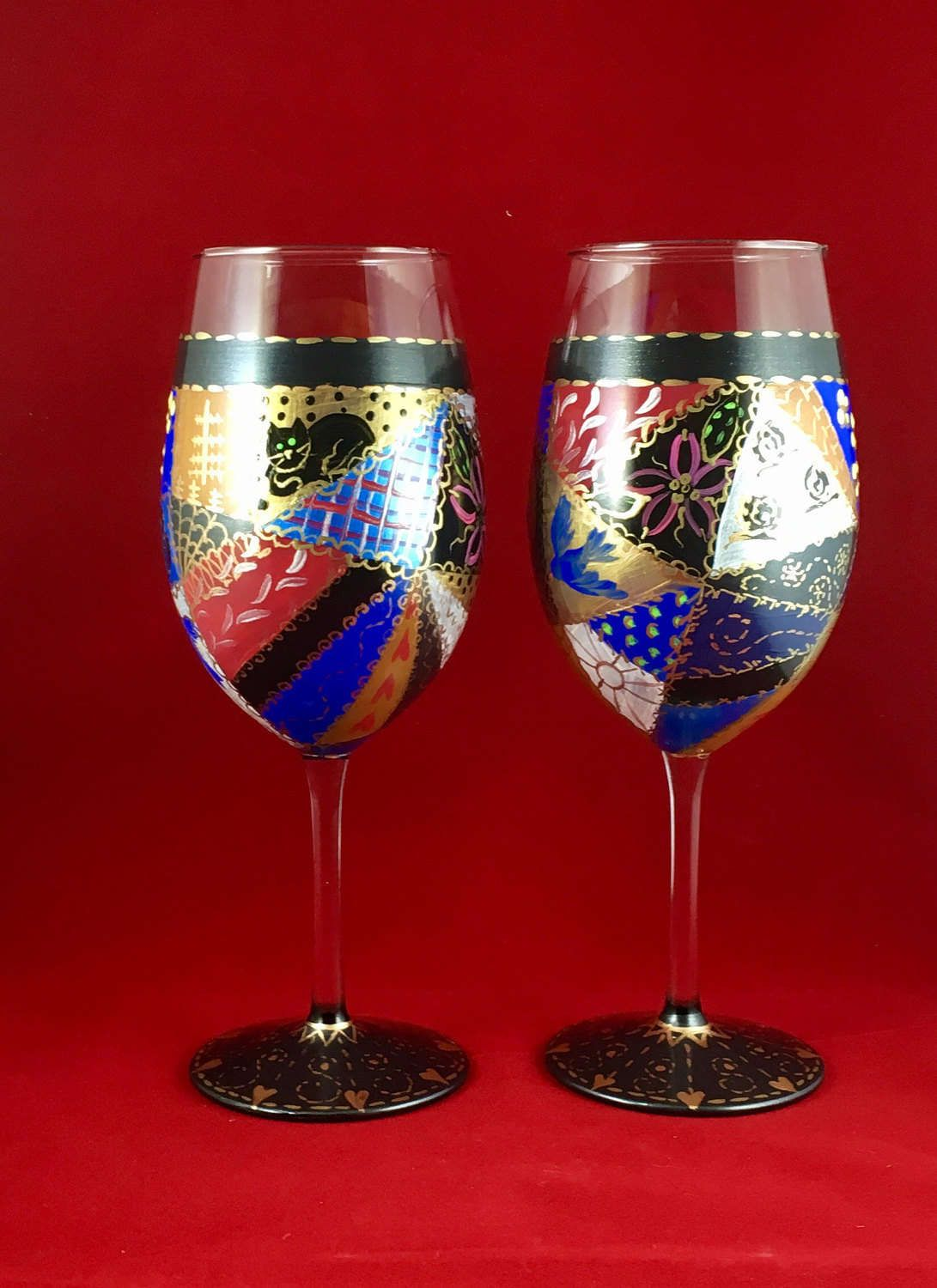 Crazy Quilt Wine Glasses Painted Quilt Cozy Set Of Two Vintage Look Boho Gift For Quilter Winter Wine G Diy Glasses Crazy Quilts Boho Gifts
