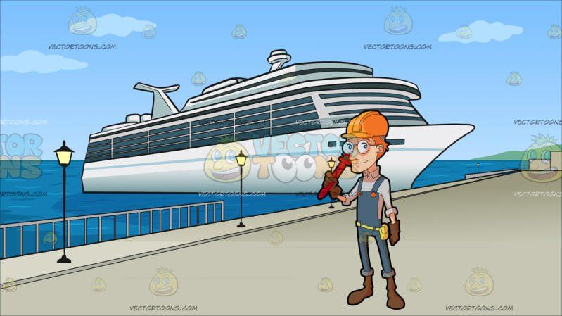 A Male Construction Worker Holding A Plumbing Wrench At Cruise - Cruise ship jumper