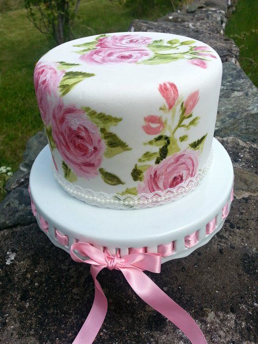Painted rose cake love hand painted cakes