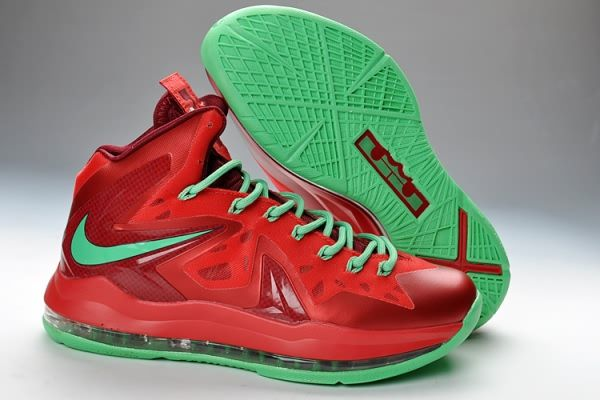 green and red nike shoes