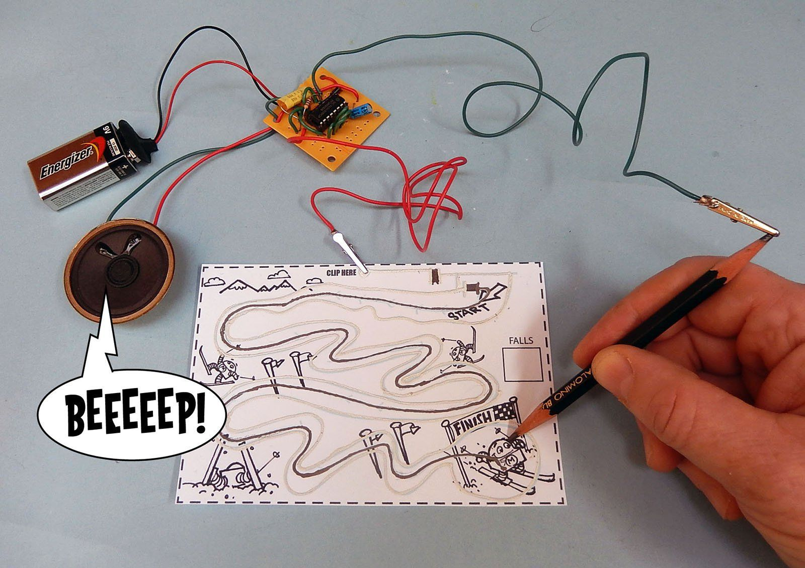 Build An Electronic Audio Game With A Pencil Paper And Conductive Simple Electrical Circuit For Kids Jay Silvers 2008 Drawdio Combines 555 Timer To Make Squeals Beeps Other Musical Tones