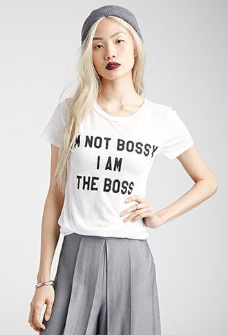 "Don't let people get it twisted. With ""I'm Not Bossy, I Am The Boss"" emblazoned across the front, this short-sleeved tee makes things loud and clear! Plus, it's crafted from a cotton blend so soft and lightweight, you may never want to take it off."