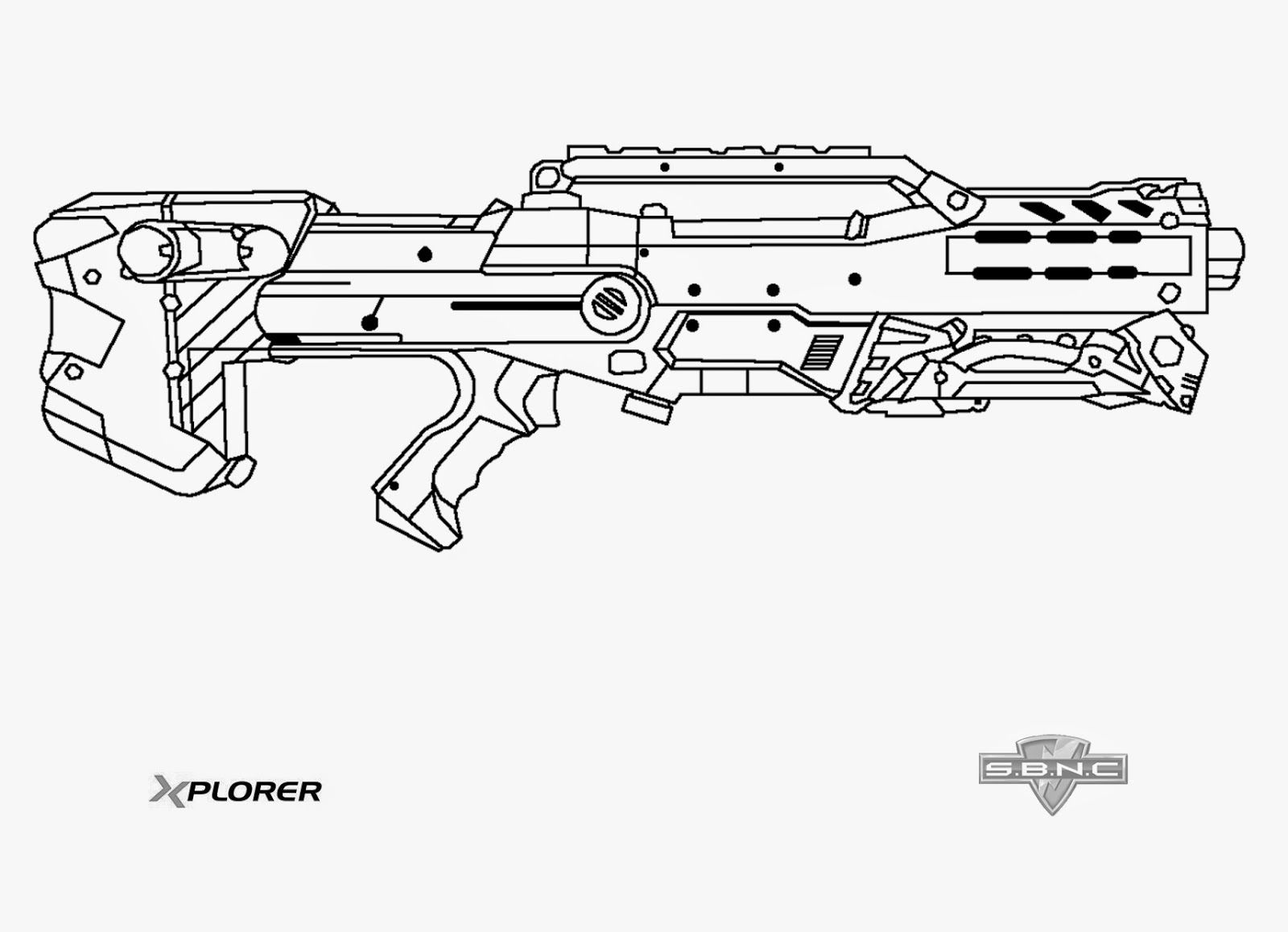 Coloring Pages Nerf Gun : Nerf longshot template this means war pinterest