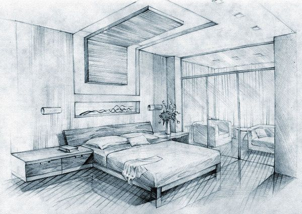 architecture sketch of bedroom with glass wall and false