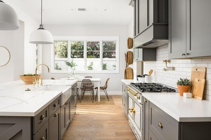 Best Charcoal Gray Kitchen With Shaker Cabinets And White 640 x 480