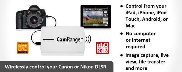 CamRanger allows wireless control of your Canon or Nikon