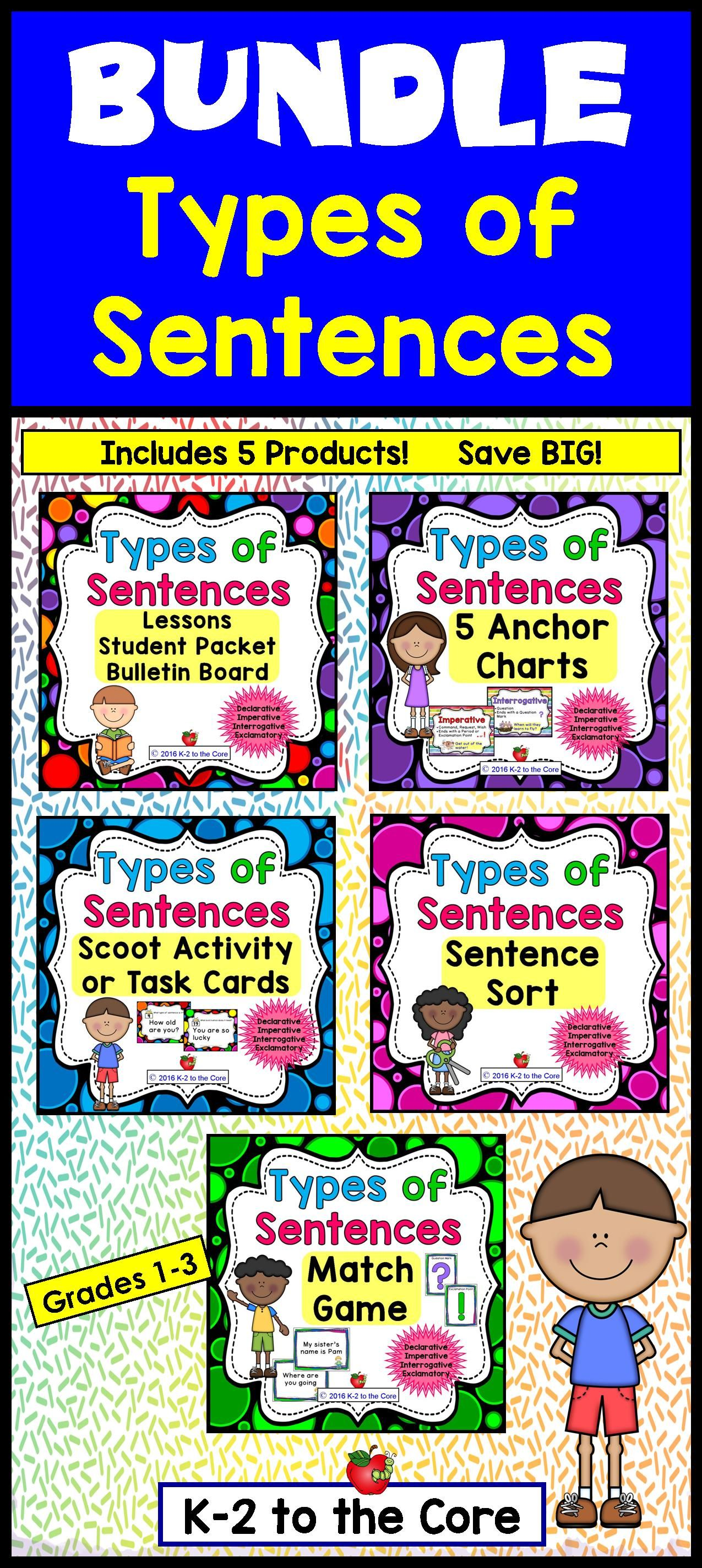 Types Of Sentences Amp Punctuation Bundle Lessons Packet Games Bulletin Board