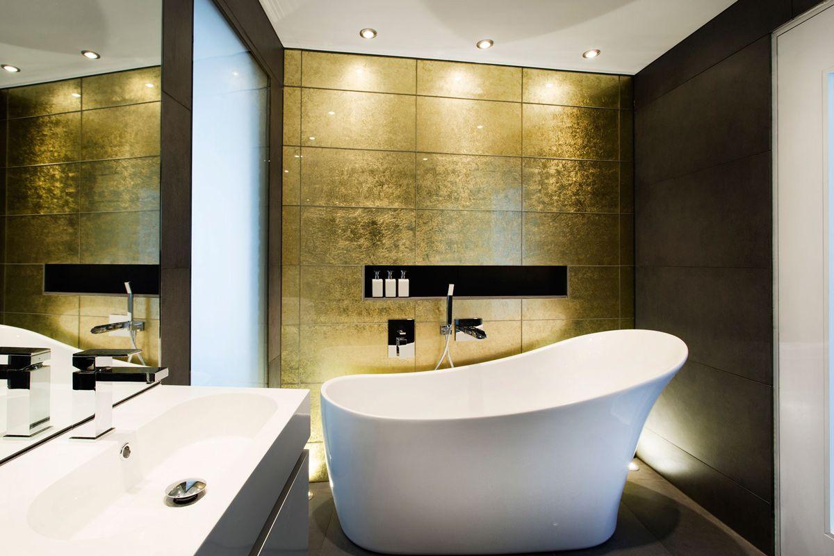 Gold Wall, Bathroom, Bath, Sink, Mirror, Modern Home in Hampshire