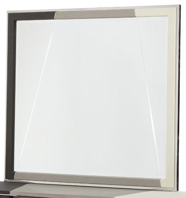 AICO Furniture - Beverly Boulevard Upholstered Dresser Mirror in Pearl Caviar - 06060-93