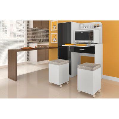 Armario cozinha com 2 puff mesa retratil local para for Mesa para microondas
