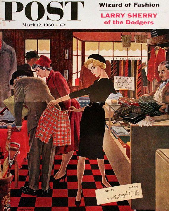 Saturday Evening Post Cover - 1960 - Shopping - Mode - Herrenmode - Wall Art - Retro Vintage Dekor