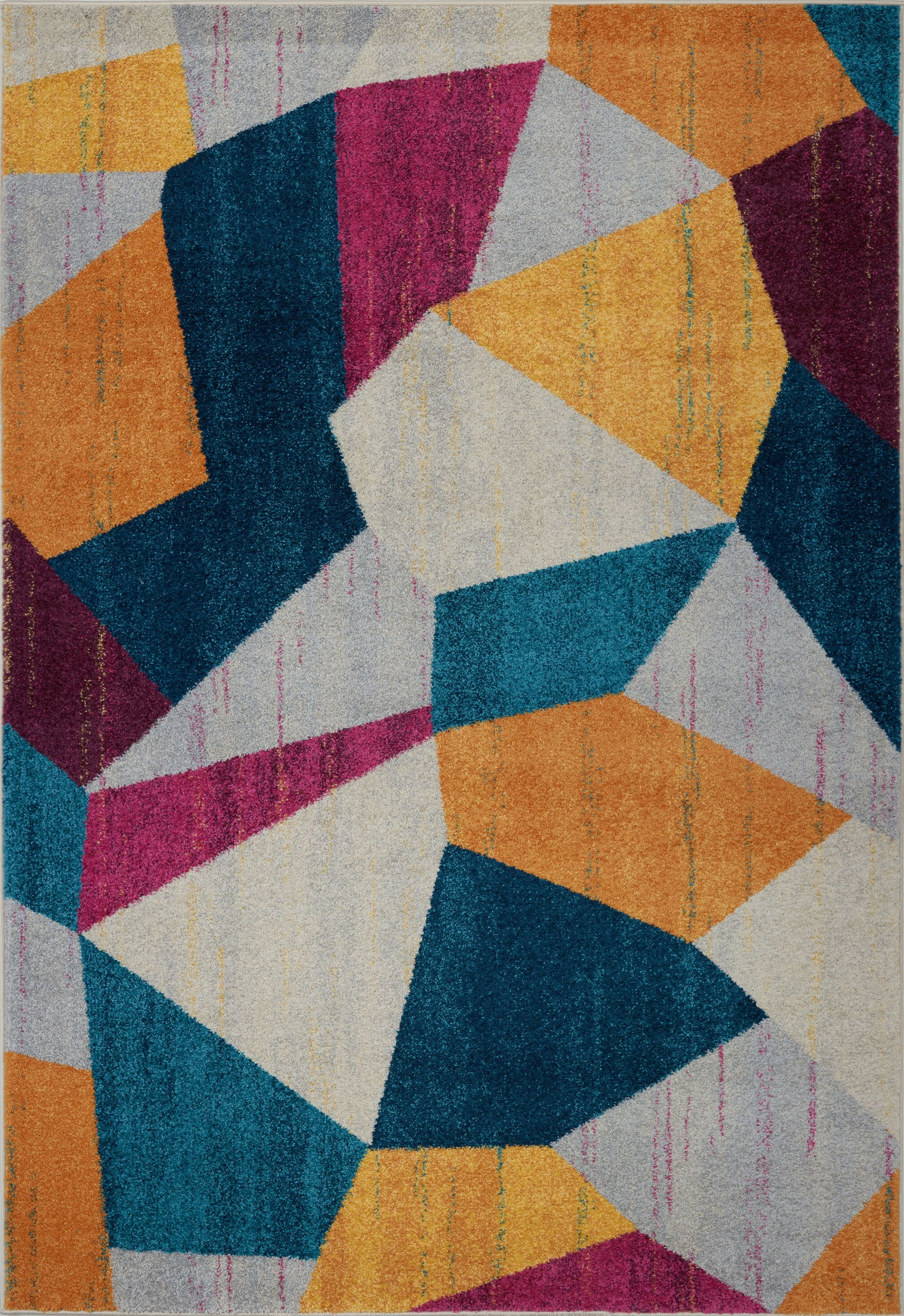 East York Multi Area Rug Teal Yellow Cream Darkpink Pink Ping Colorful Multicolor Abstract Home Décor