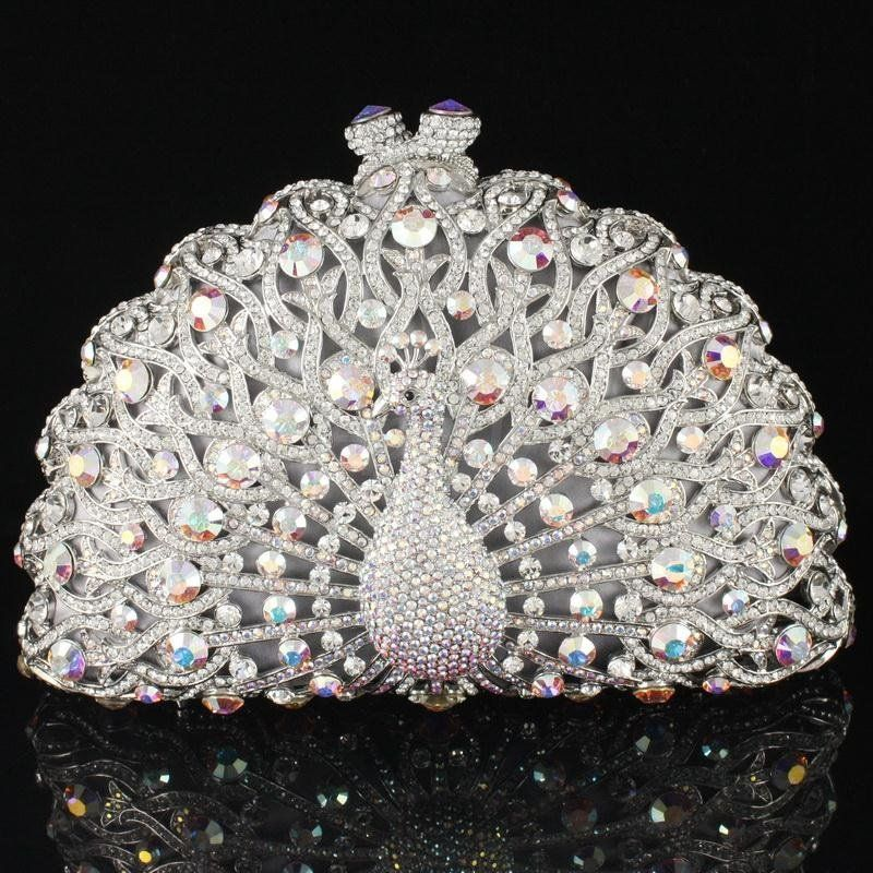 Fashion Crystals Clear Animal Peacock Clutch Evening Purse Bag ...