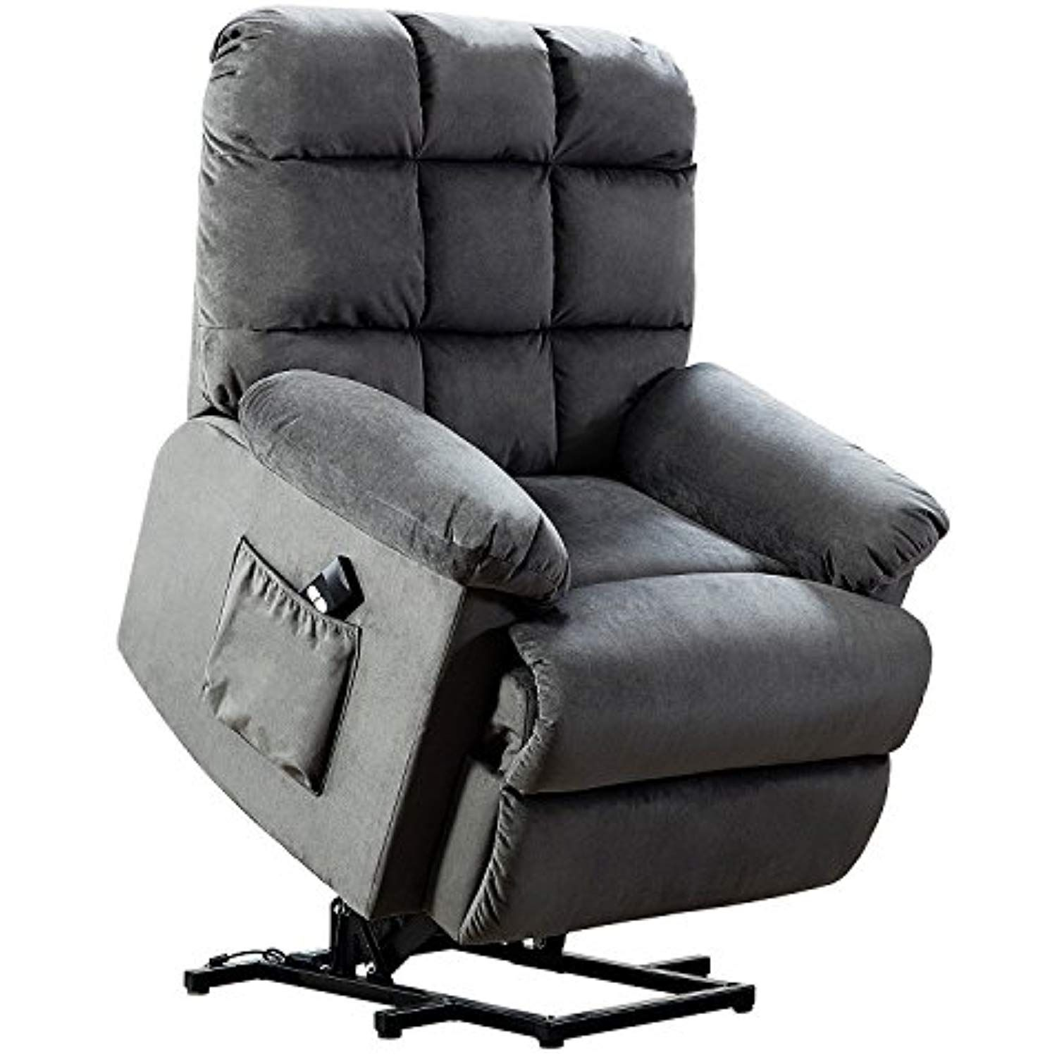 Bonzy lift recliner chair with over stuffed armrest and